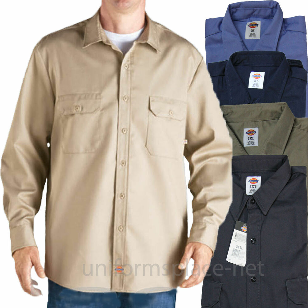 Dickies Work Shirts Mens Long Sleeve Button Front Twill