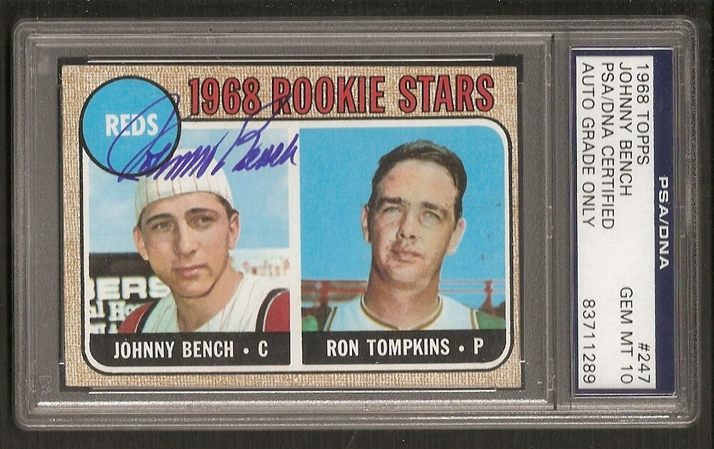 Johnny Bench Reds 1968 Topps Rookie Gem Mint 10 Signed Auto Psa Dna Ebay