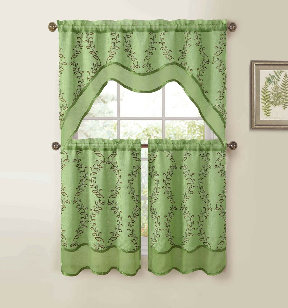 Sage Green 3-Pc Kitchen Window Curtain Set: Two-Layer
