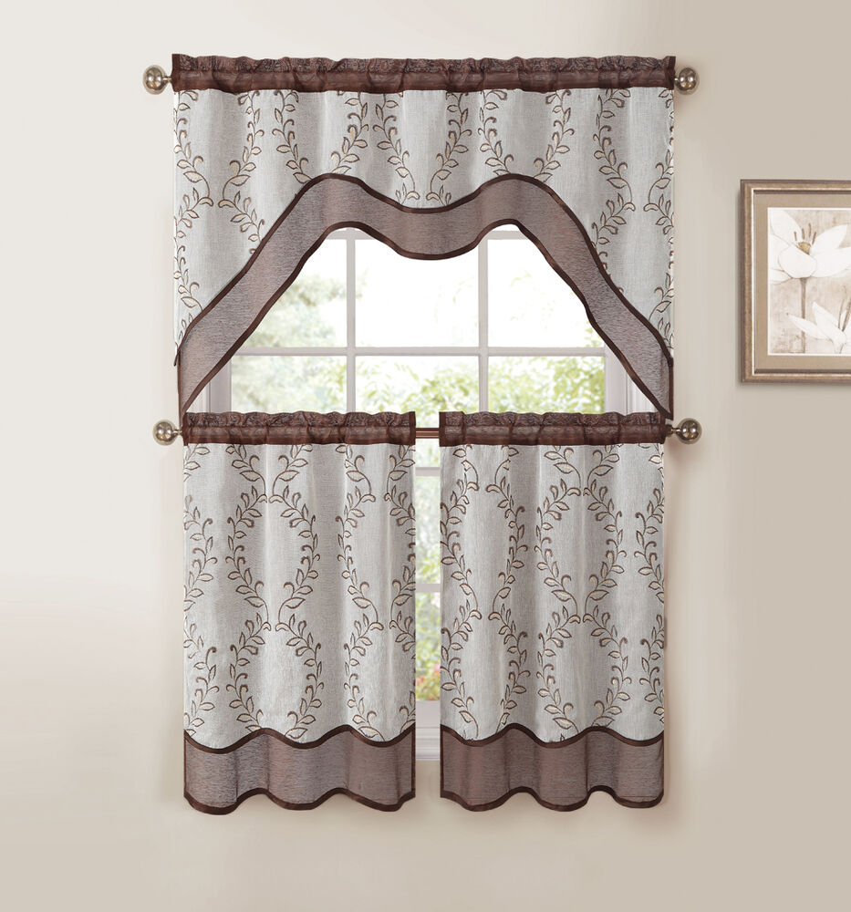 Kitchen Window Curtains: Chocolate Brown 3-Pc Kitchen Window Curtain Set: Two-Layer