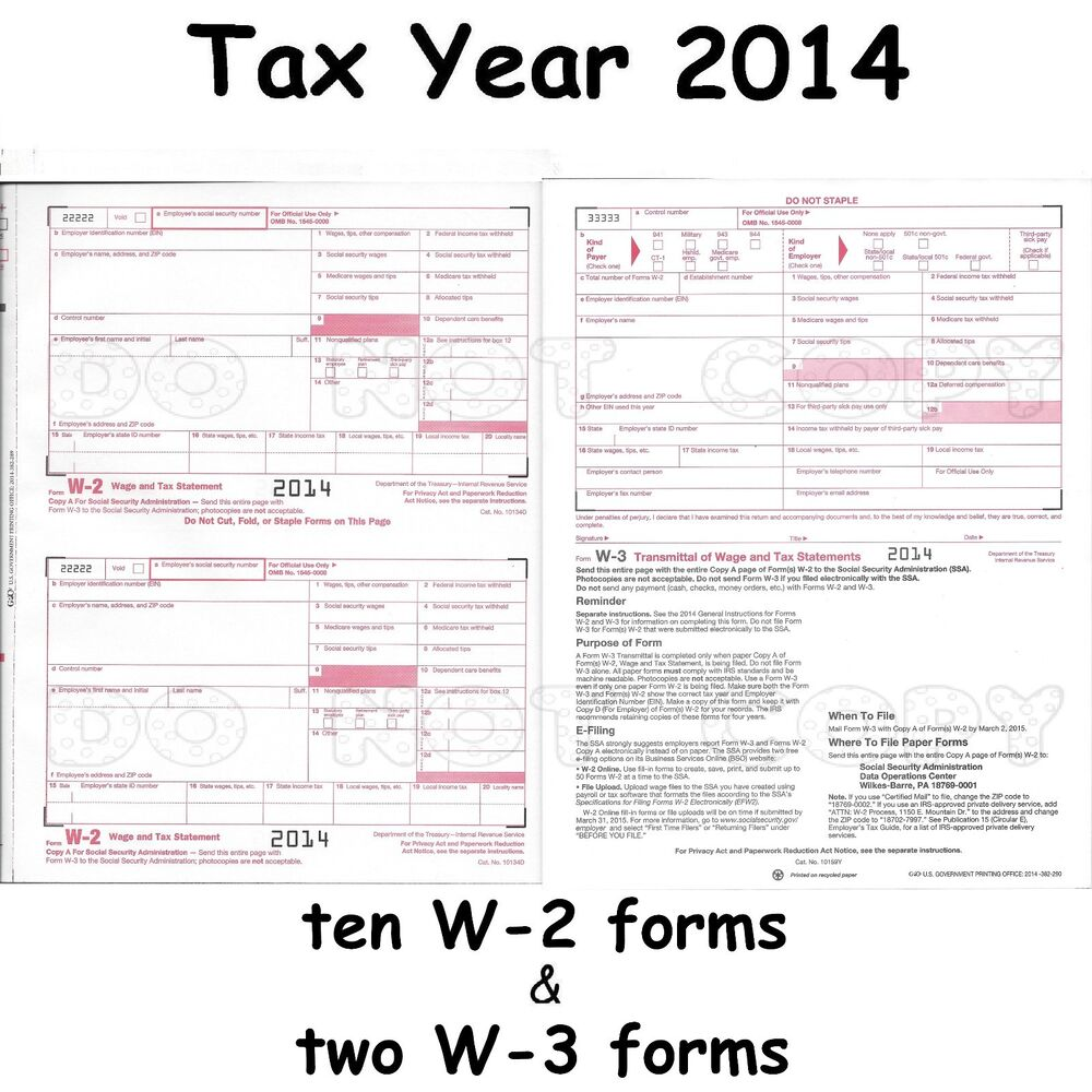 10) W-2 Wage & Tax Statement 2014 IRS Tax Forms & 2) W-3 Transmittal ...