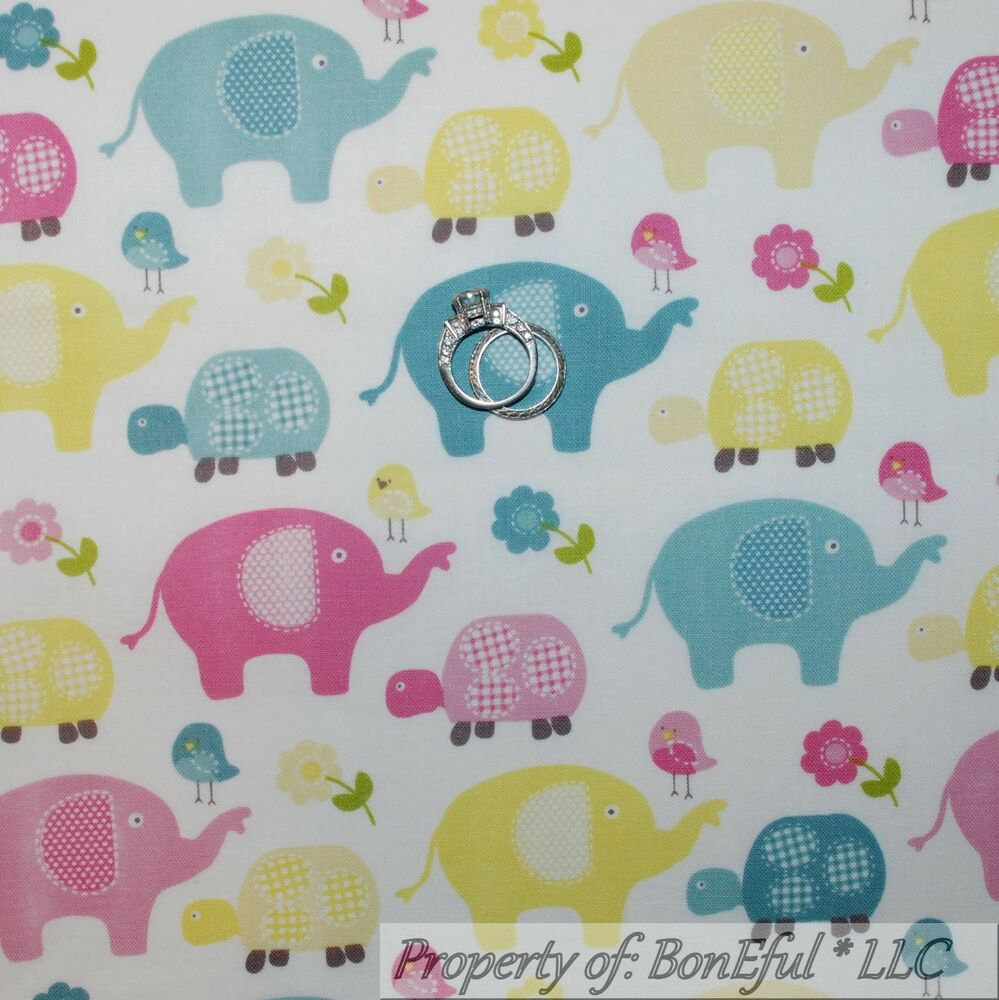 Boneful fabric fq cotton quilt blue pink elephant turtle for Unisex baby fabric