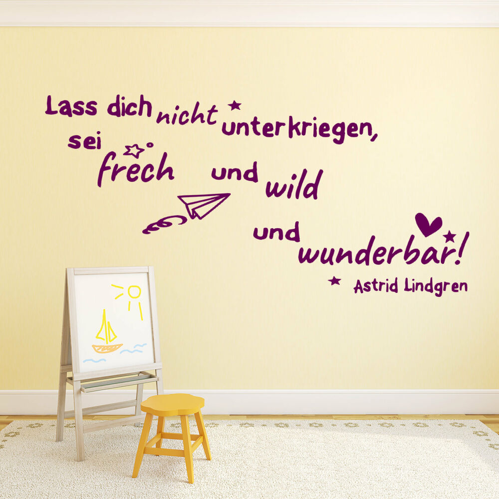 wandtattoo f rs kinderzimmer zitate von astrid lindgren kinder baby tk43 ebay. Black Bedroom Furniture Sets. Home Design Ideas