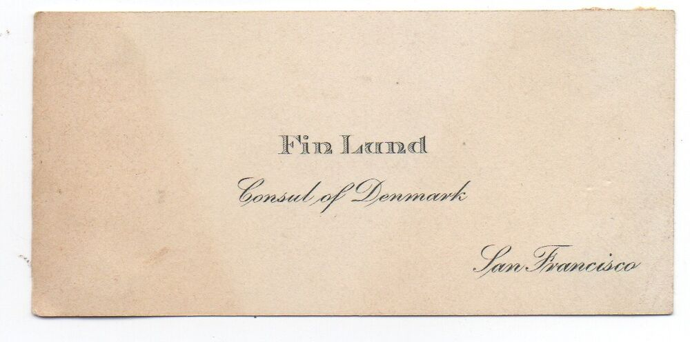 1920s Business Card For Fin Lund Consul Of Denmark At San Francisco