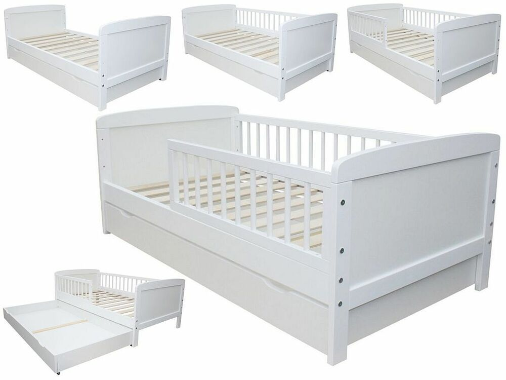 kinderbett juniorbett 160 x 70 cm incl lattenrost und schublade weiss ebay. Black Bedroom Furniture Sets. Home Design Ideas