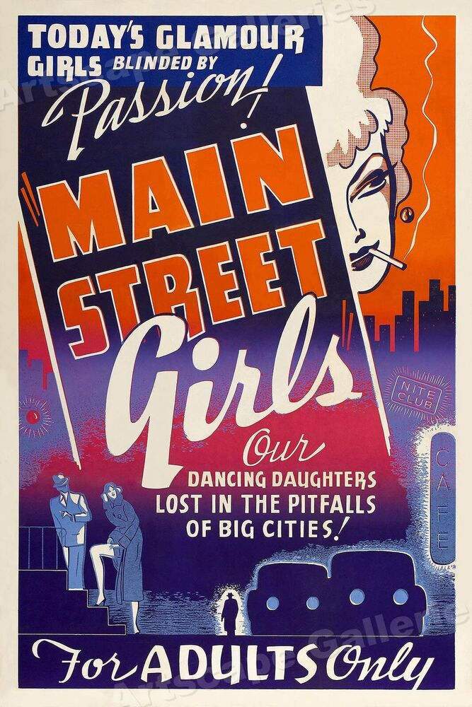 quotmain street girlsquot 1938 vintage adult movie poster