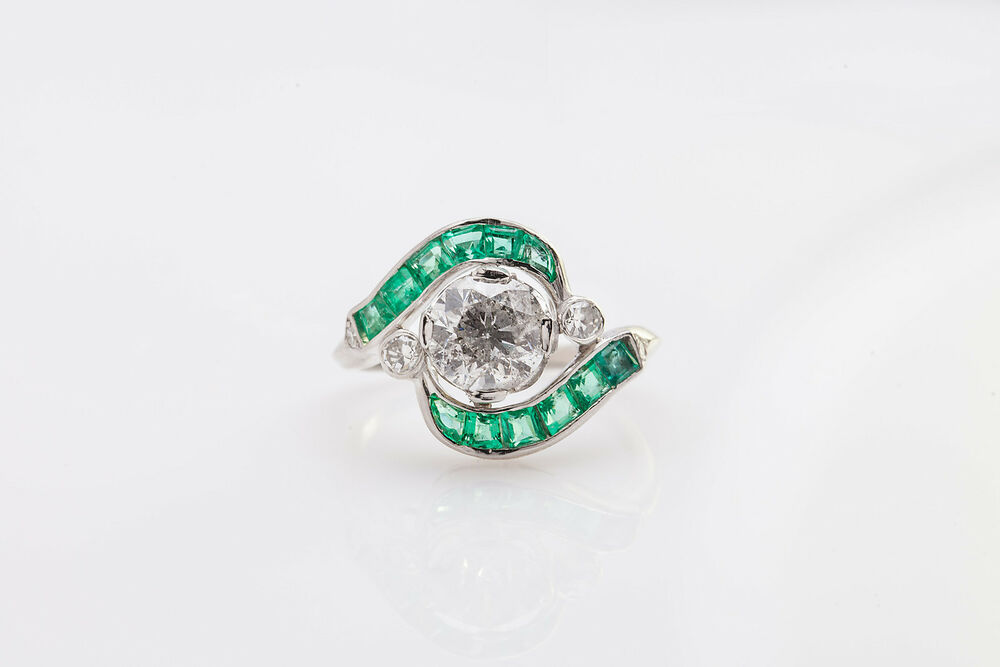 Antique 1920s $20 000 4 25ct Old Euro Diamond Emerald Platinum Wedding DECO R