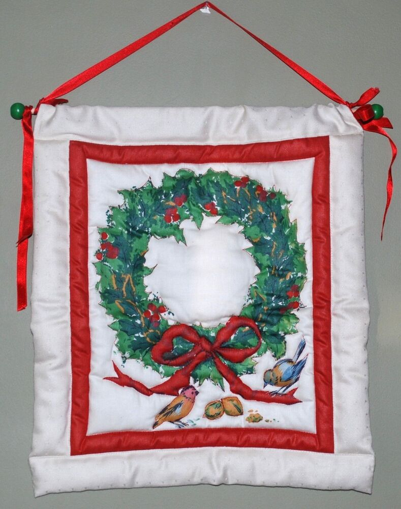 Handmade Quilted Christmas Decor Wall Hanging Birds