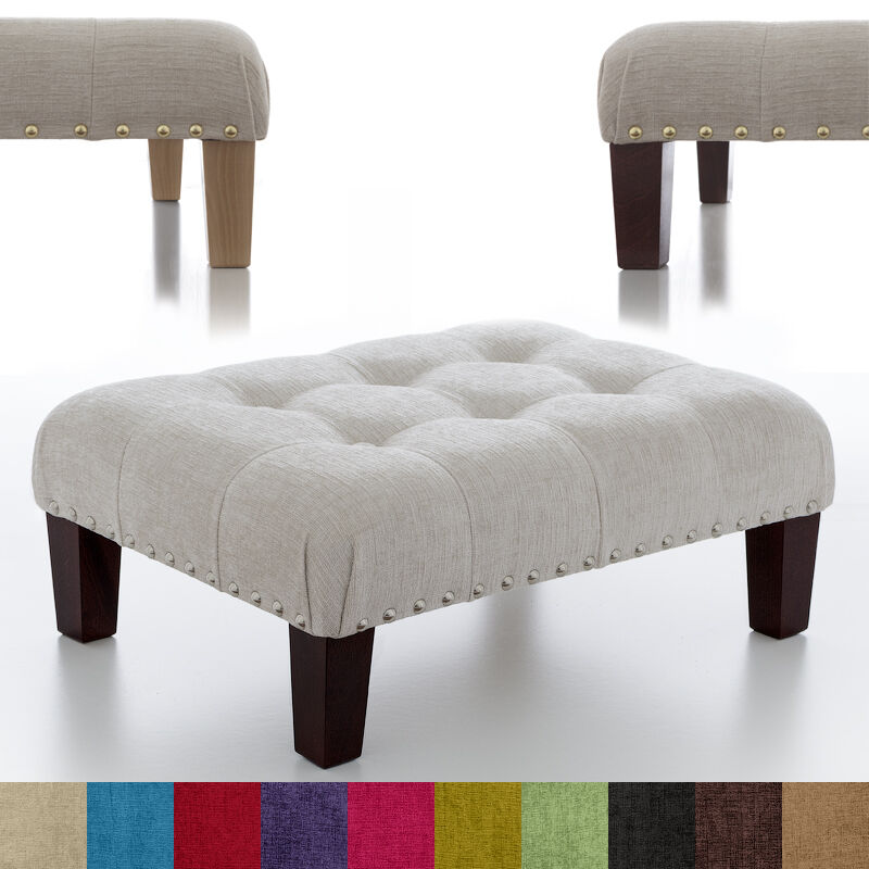 New Buttoned Footstool Ottoman Foot Rest Small Large