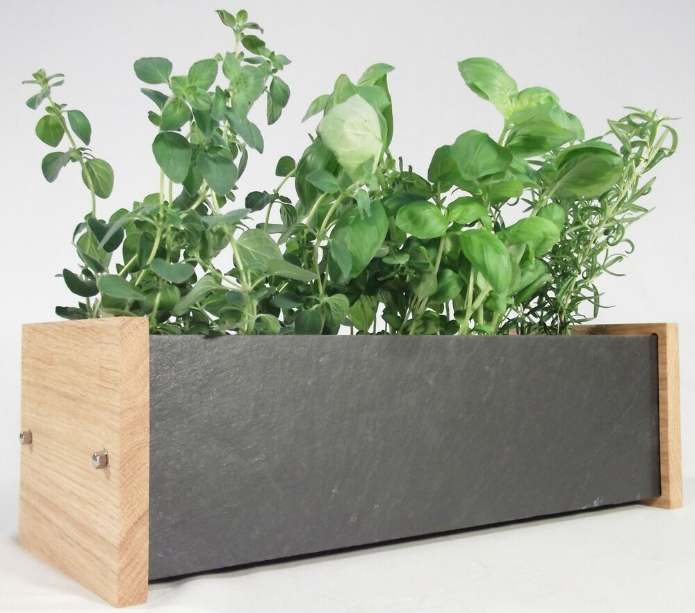 window herb and flower planter box oak and slate. Black Bedroom Furniture Sets. Home Design Ideas