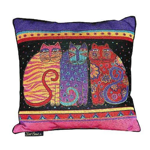 Decorative Tapestry Throw Pillows : Laurel Burch Feline Cat Friends Cat Decorative Tapestry Throw Pillow NWT eBay