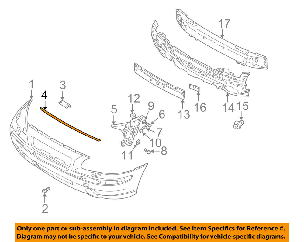 Volvo S70 T5 Engine Diagram Oem 01 09 S60 Front Bumper Grille Grill Upper Seal 8659874 Ebay