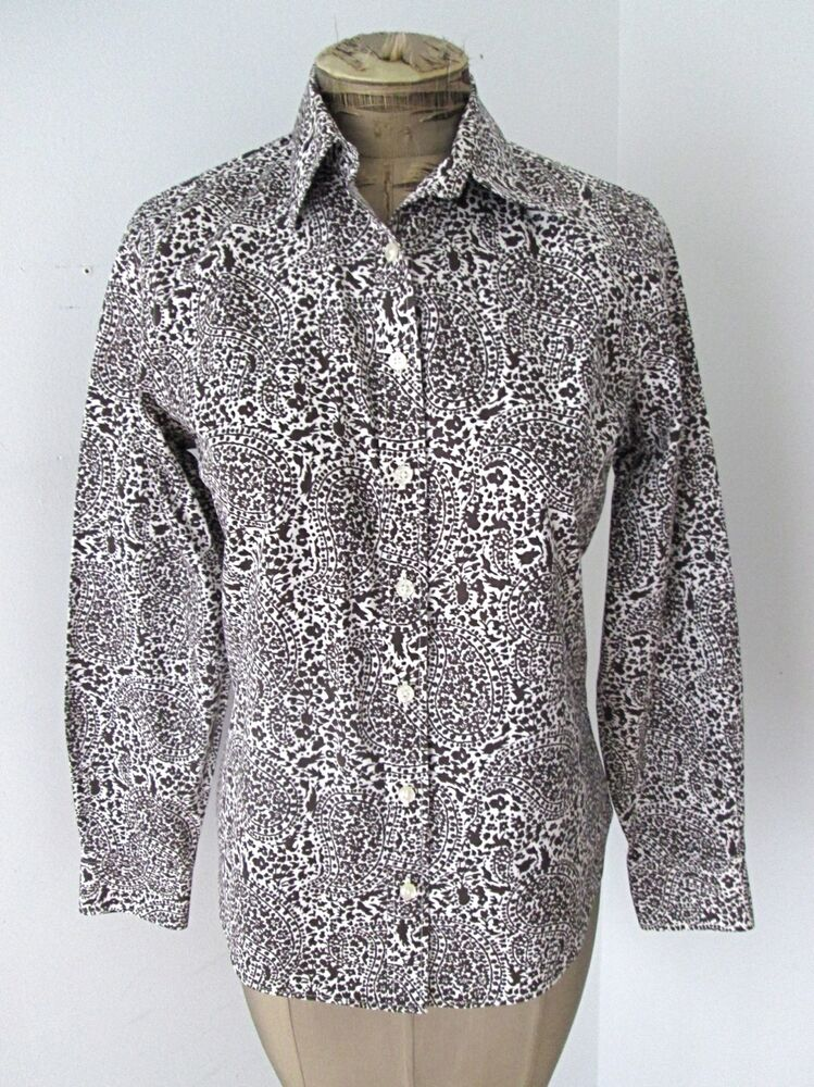 Minty lands end brown paisley no iron pinpoint oxford for No iron white shirt womens