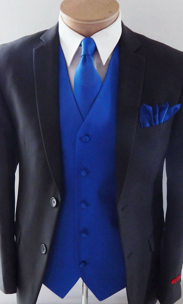 Royal Blue Xs 6x Vest Waistcoat And Neck Tie Hanky Set