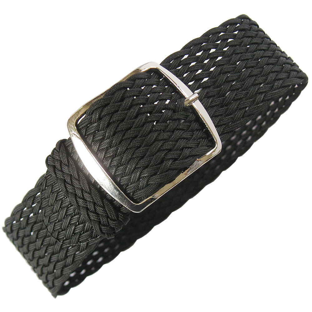 Banded Bands: 20mm Fluco Germany Mens Black Woven Braided Tropic Nylon