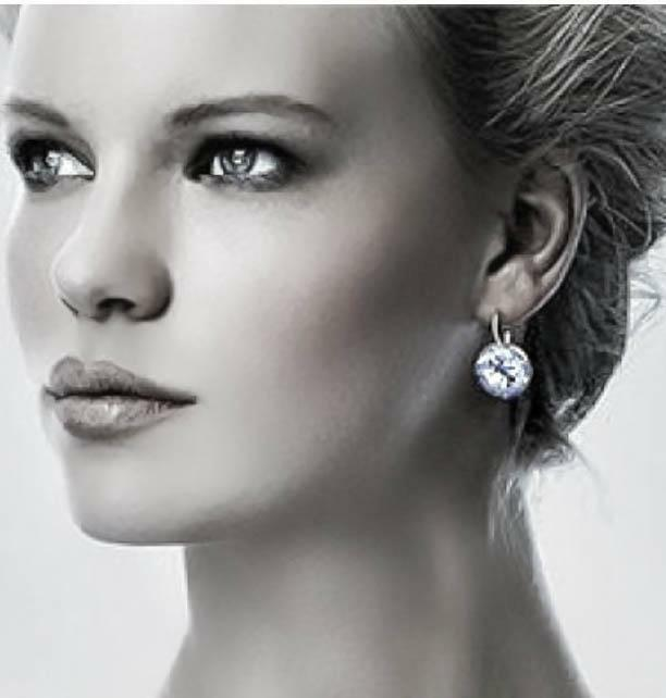 Bella Earrings Made With Genuine Swarovski Crystals Silver Plated Bezel Lever Ebay