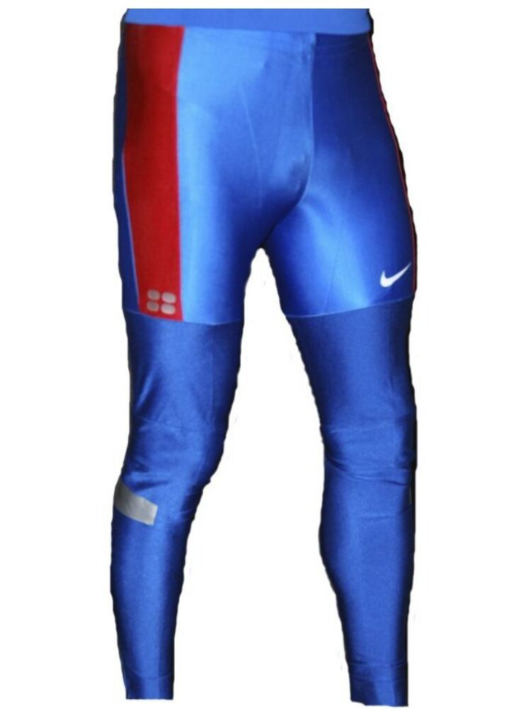 nike mens dri fit tight long running sports pants leggings blue red 713588 460 ebay. Black Bedroom Furniture Sets. Home Design Ideas