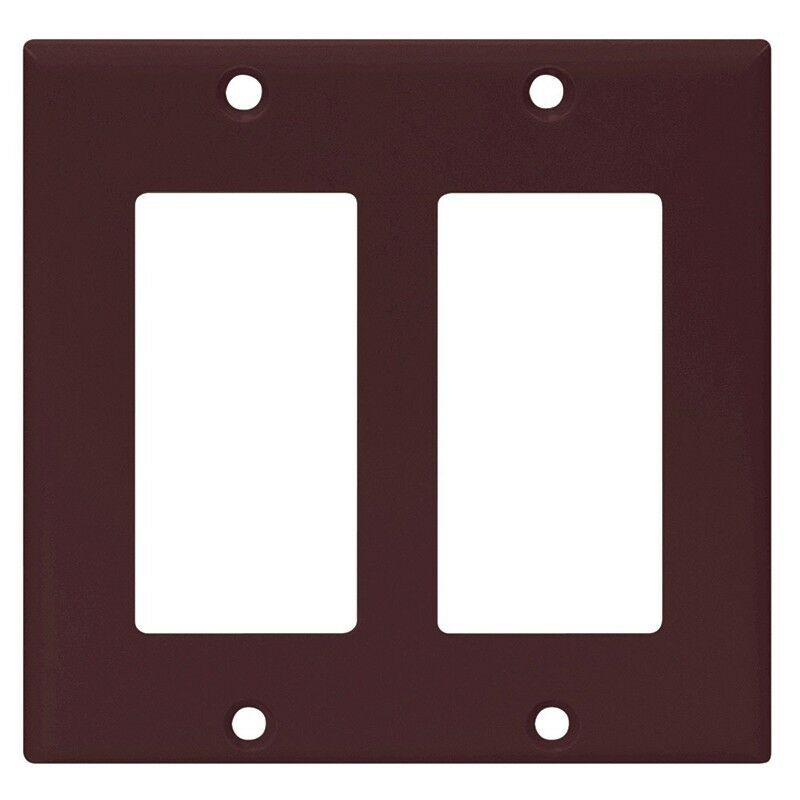1 Pc New Decorator 2 Gang Wall Plate Cover Brown Decora