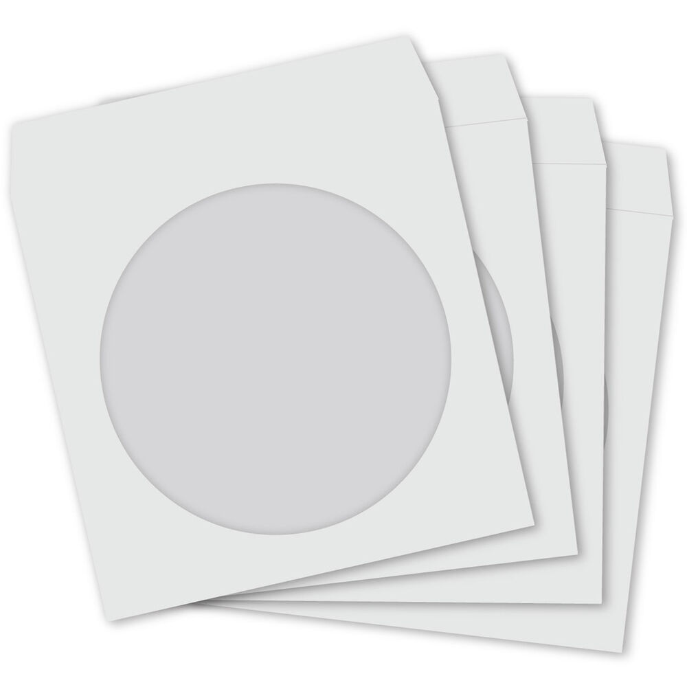 100 cd paper sleeves white with window and flap 100 pack for 100 paper cd sleeves with window flap