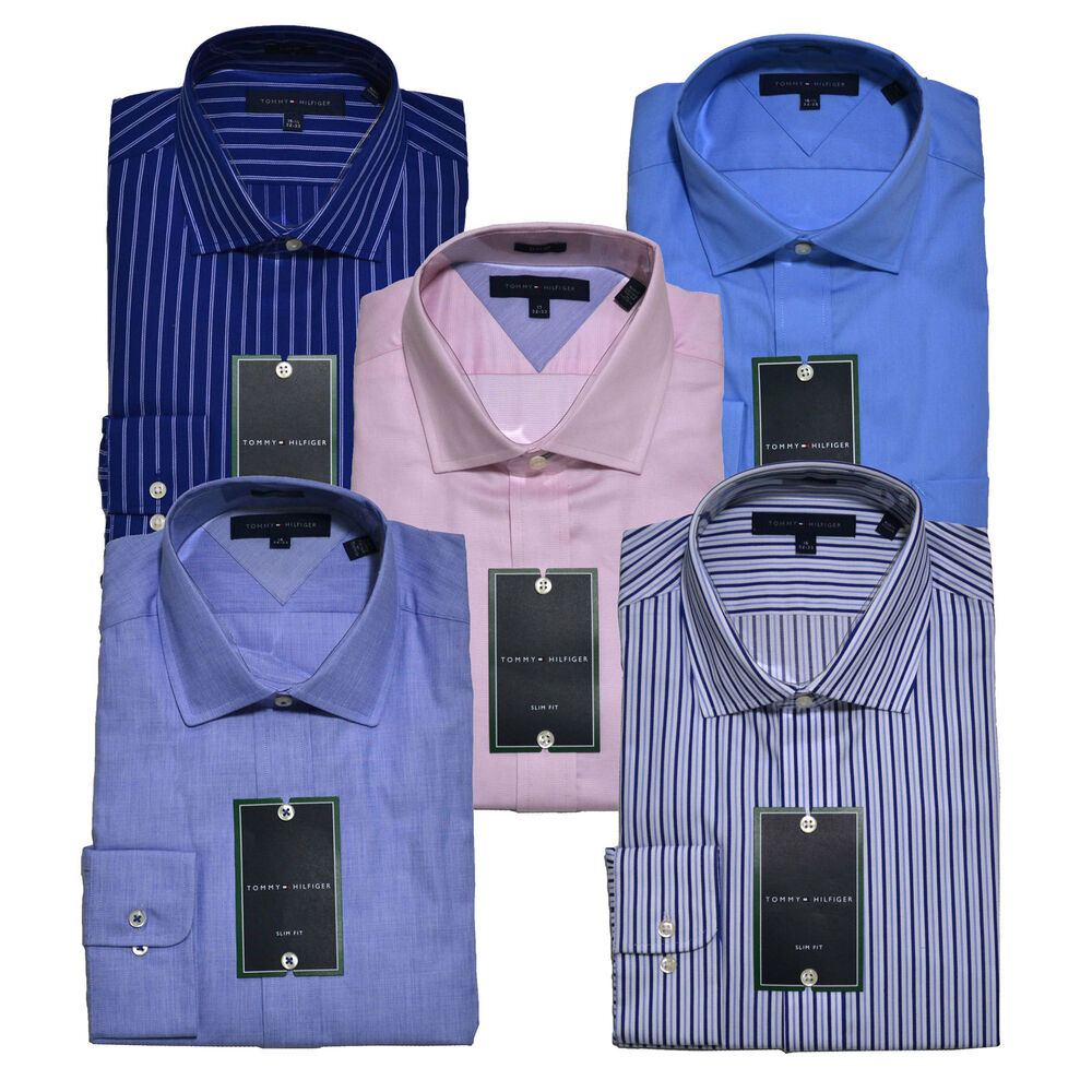 Tommy hilfiger dress shirt mens slim fit spread or point for Fitted button up shirts mens