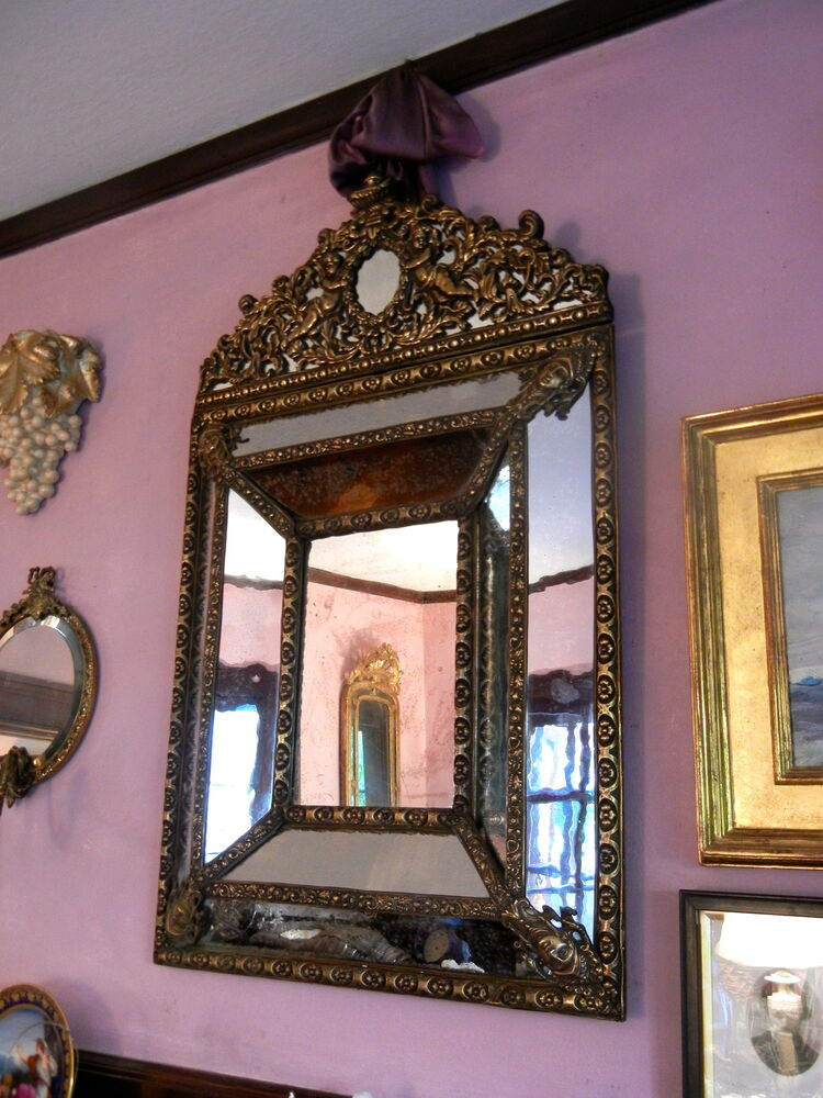 Antique 19th C Dutch Repousse Mirror Brass Overlay On