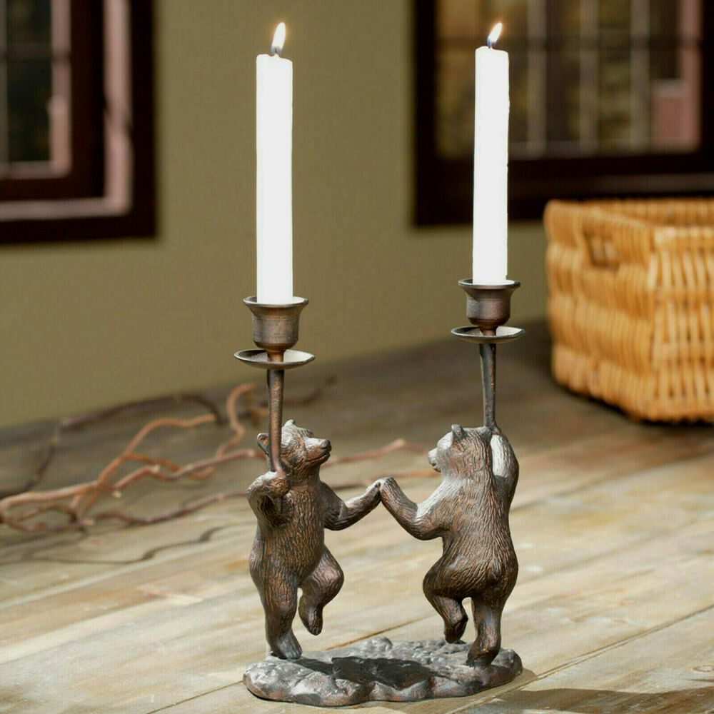 Dancing Bears Candleholder Rustic Cabin Lodge Decor