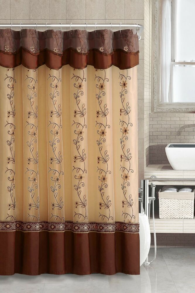 Two Layered Embroidered Fabric Shower Curtain With Attached Valance Cinnamon Ebay