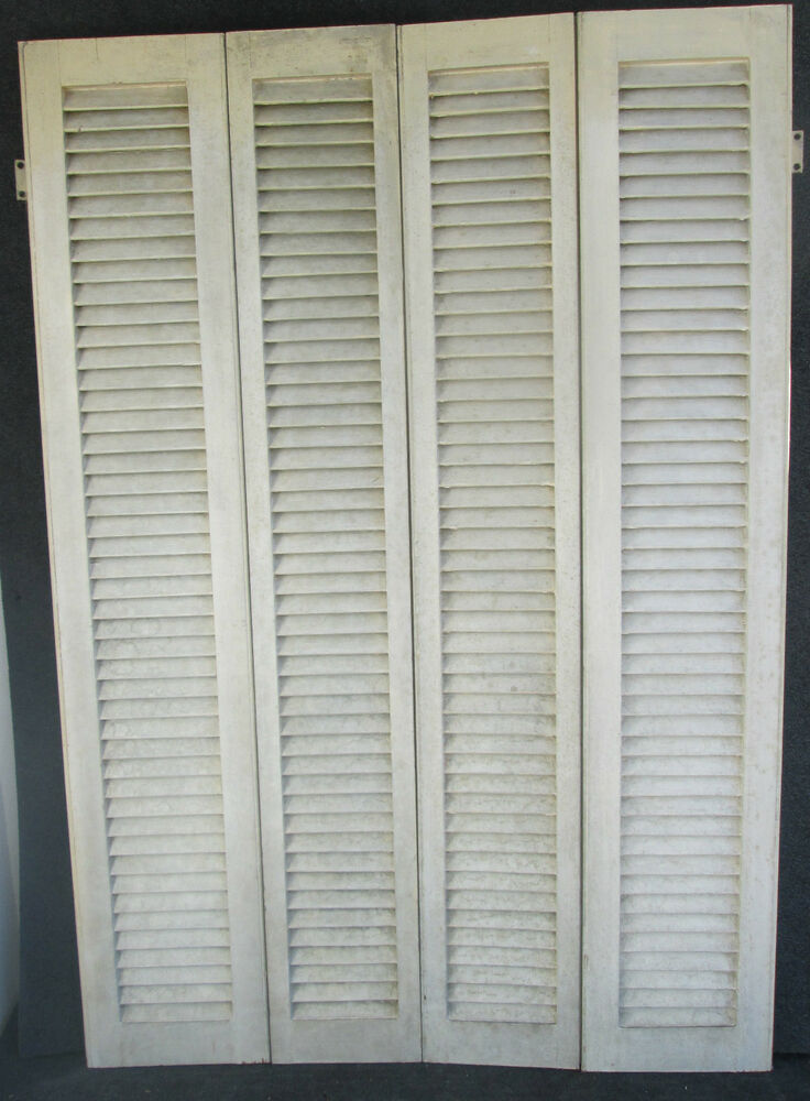 Set Of Antique Louvered Interior Window Shutters 36 1 2 W X 54 1 2 H Ebay