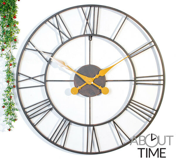 large outdoor garden wall clock open face metal large big