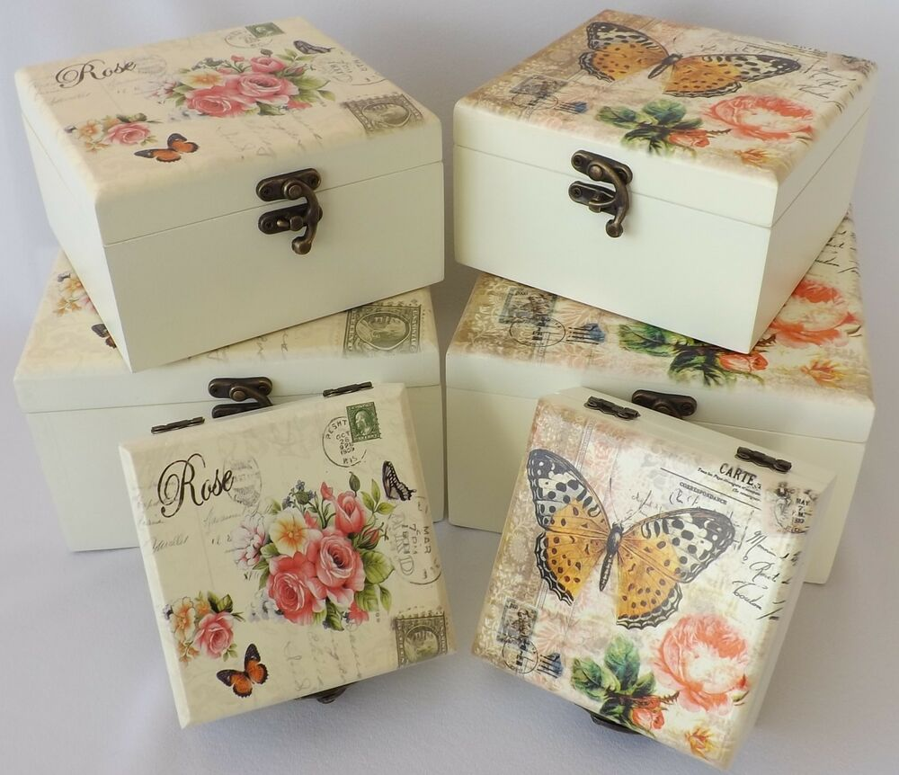 cream shabby chic wooden vintage rose or butterfly mirror jewellery storage box ebay. Black Bedroom Furniture Sets. Home Design Ideas