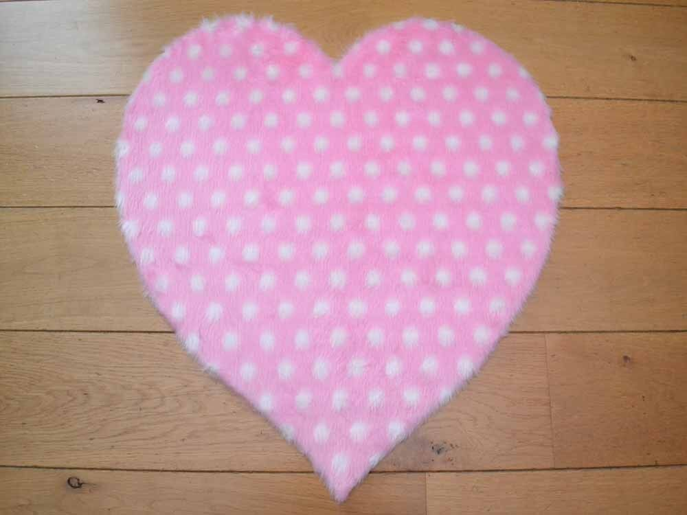 Cute Girls Pink Polka Dot Hearts Small Size Rugs Fluffy