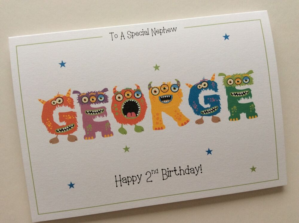Personalised Cute Monster Name Boys Birthday Card 1st 2nd 3rd 4th