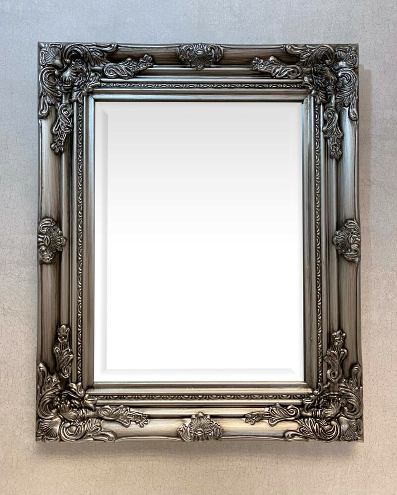 Best Selling Small Antique Silver Ornate Wall Mirror Size