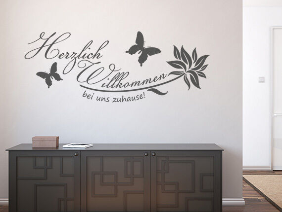 wandtattoo flur spr che wandsticker herzlich willkommen bei uns zuhause nr 1 ebay. Black Bedroom Furniture Sets. Home Design Ideas