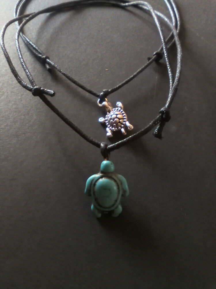 Turquoise silver tortoise turtle cord necklace choker for Real tortoise shell jewelry