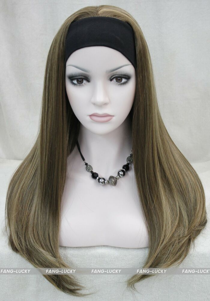 Excellent Brown Blonde Mixed Long Women Daily 3 4 Half Wig