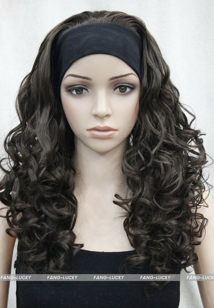 Excellent Dark Brown Long Curly Women Daily 3 4 Half Wig