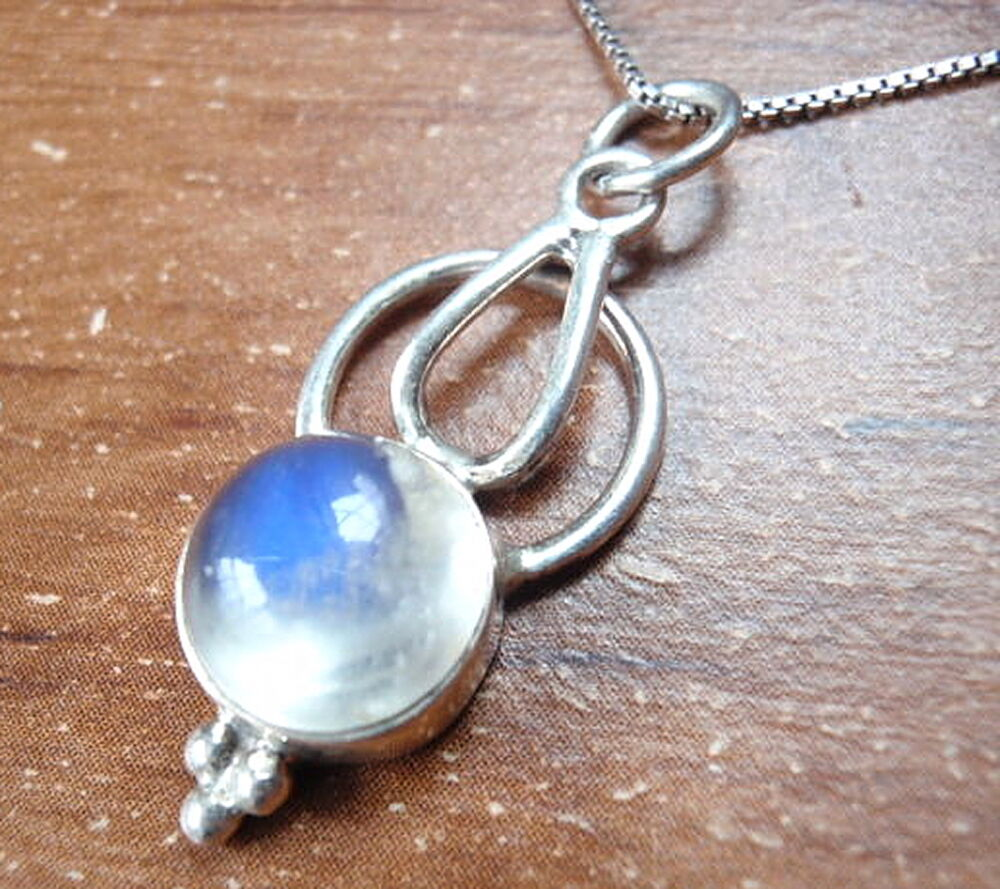 Blue Rainbow Moonstone Necklace 925 Sterling Silver Corona ...