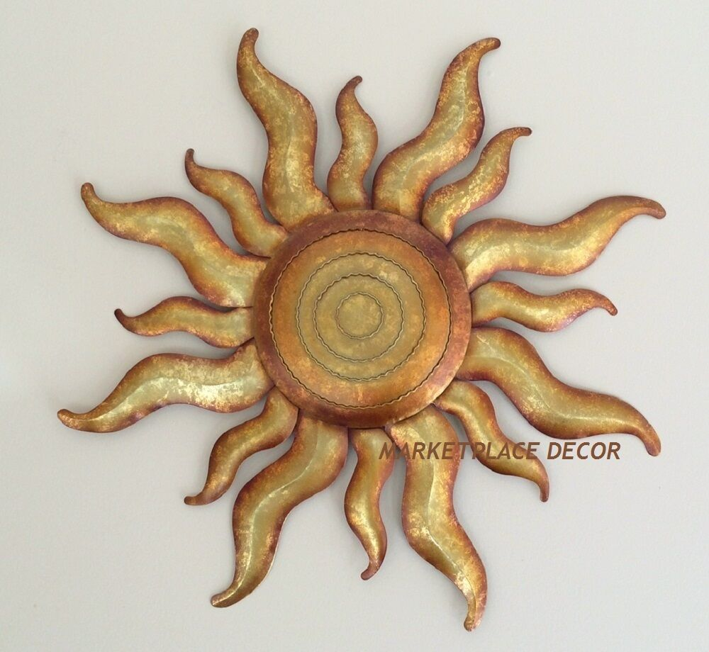 Golden sun celestial wall art metal gold sunburst garden for Outdoor metal wall art