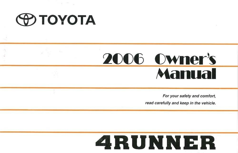 2006 toyota 4runner owners manual user guide reference. Black Bedroom Furniture Sets. Home Design Ideas