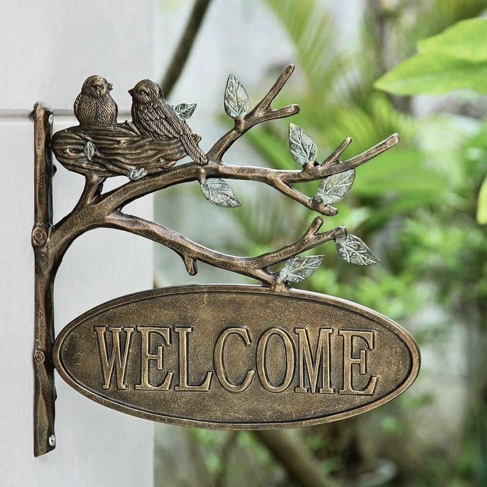 Lovebirds welcome hanging sign outdoor garden plaque wall for Outdoor hanging ornaments