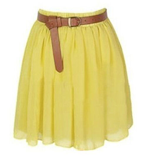 Yellow Chiffon Women Girl Short Mini Dress Skirt Pleated ...