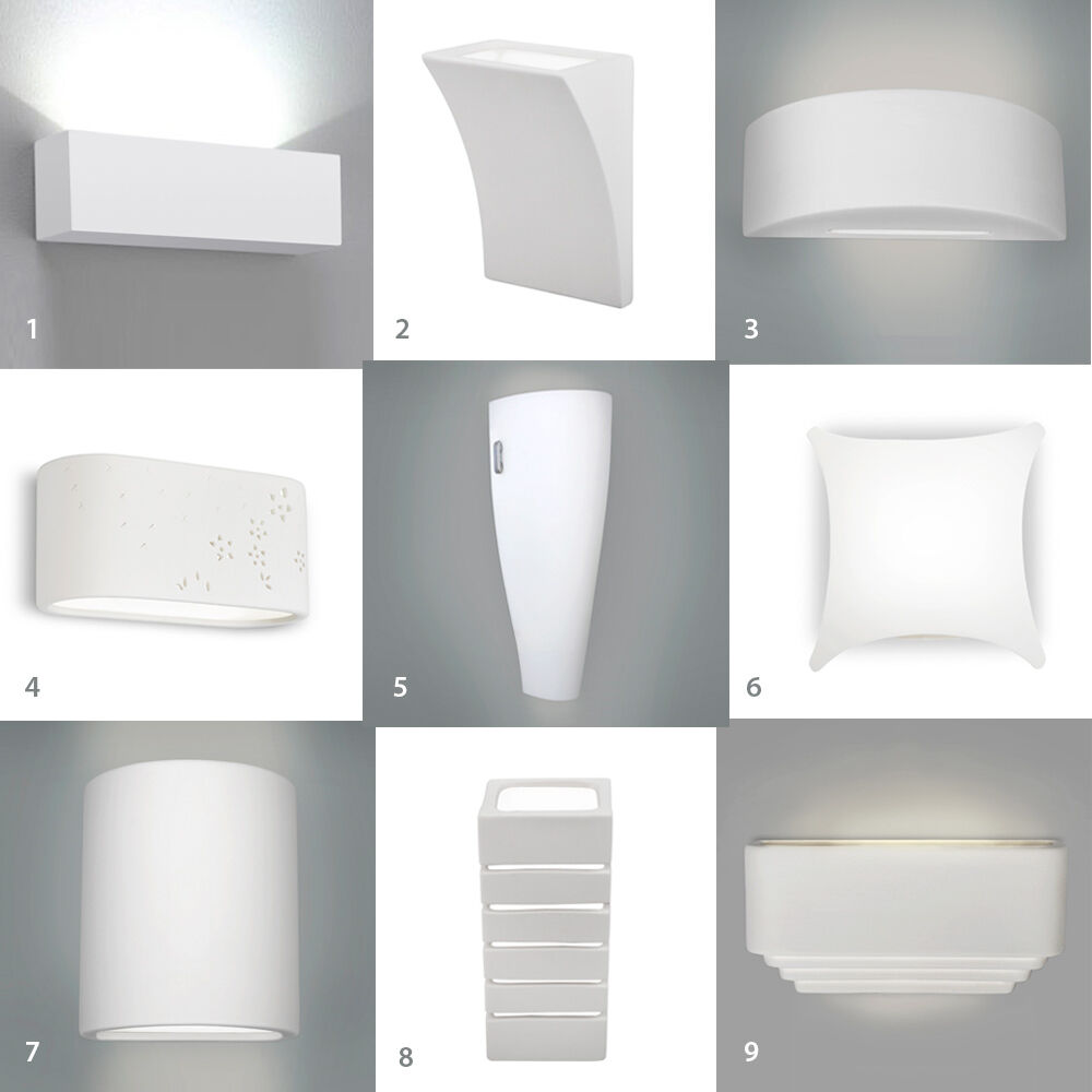 Indoor Wall Light: Single / Pair Of LED Indoor White Ceramic Wall Light