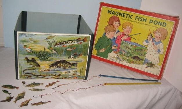 Old 1928 spears magnetic fish pond in box fishing game for Koi pond game online