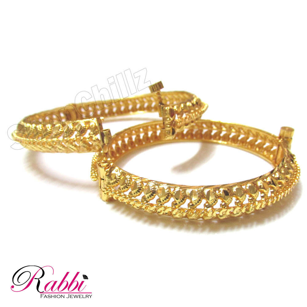 18K Gold Plated Indian bracelet bangles set bangle 2 Screw ...