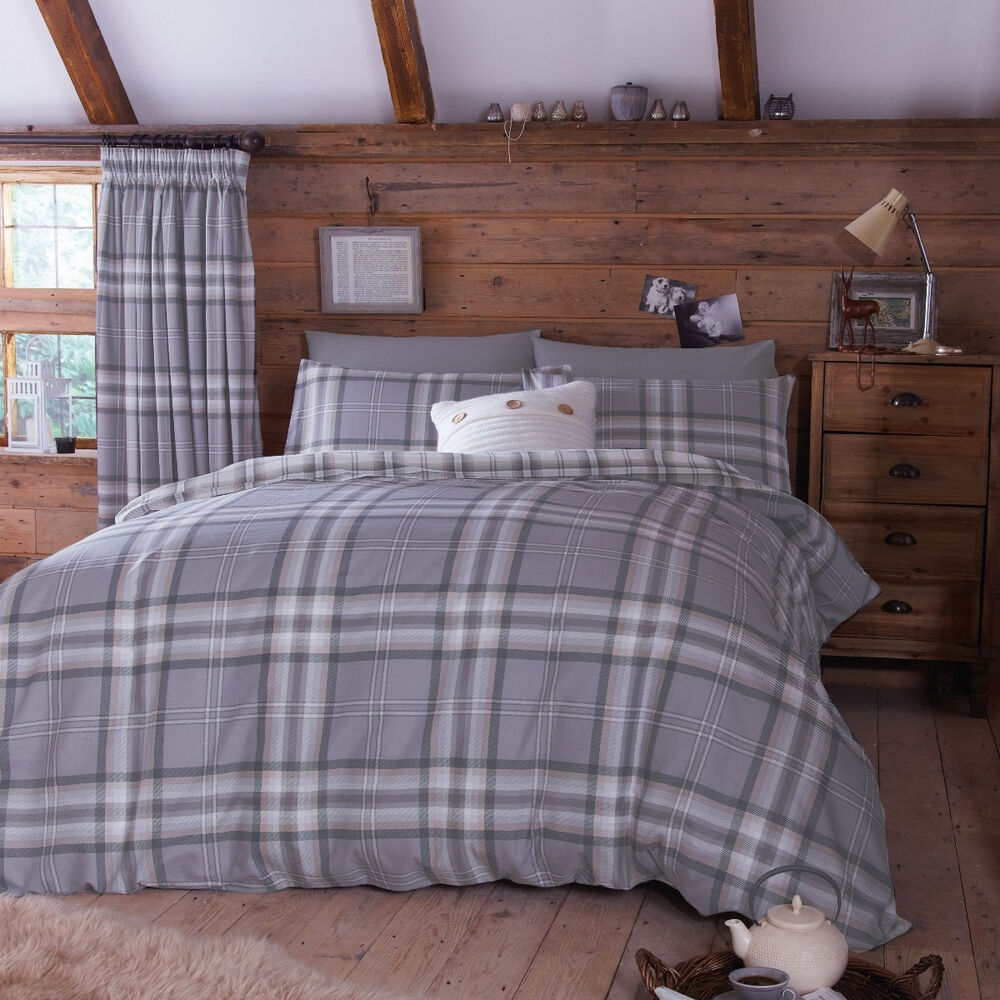edinburgh king size grey tartan plaid reversible cotton duvet set quilt cover ebay. Black Bedroom Furniture Sets. Home Design Ideas