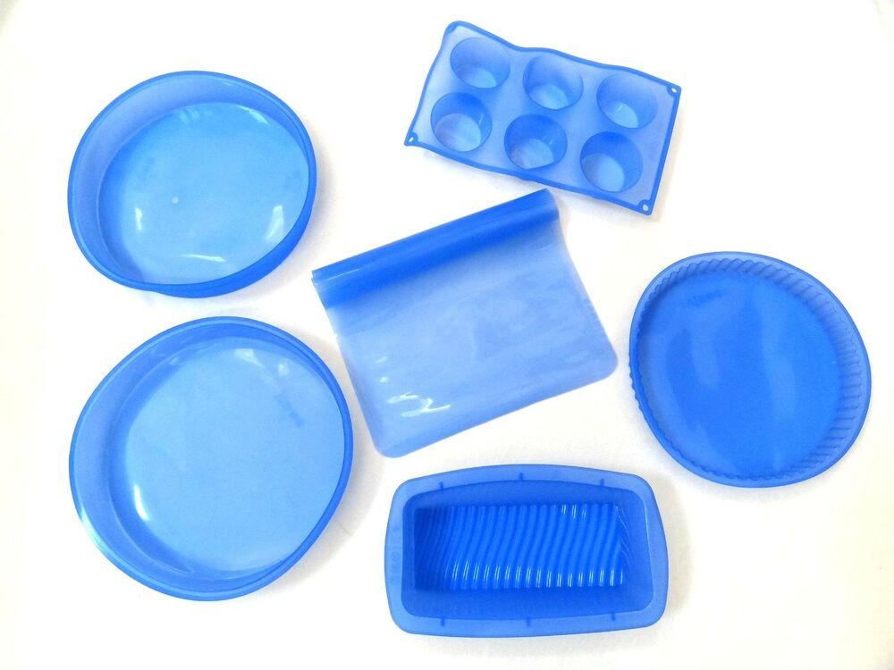 Cuisine Magic 6 Pc Silicone Bakeware Set Blue Loaf Muffin