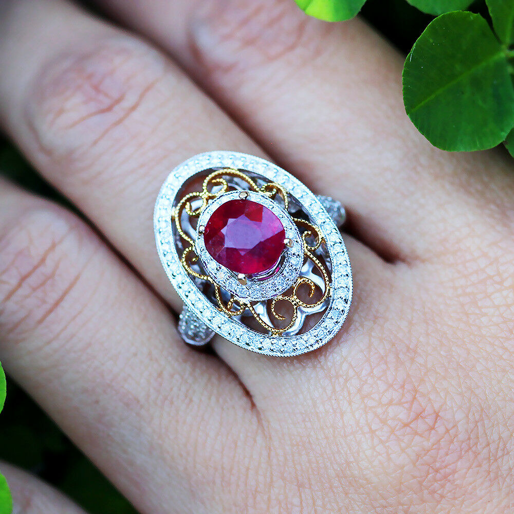 Oval Ruby Filigree Ring With Diamonds In 18kt Two Tone