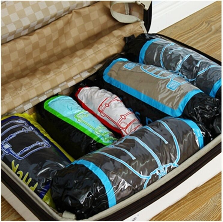 Space saving compressed storage roll, travel compression ...