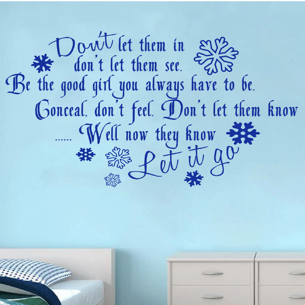 Wall Art Quotes Disney : Frozen disney quote let it go lyrics wall art sticker kids